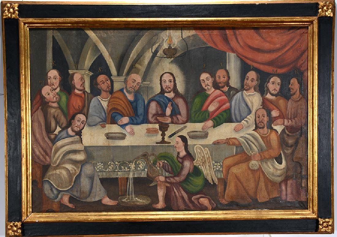 Large Painting Of The Last Supper.