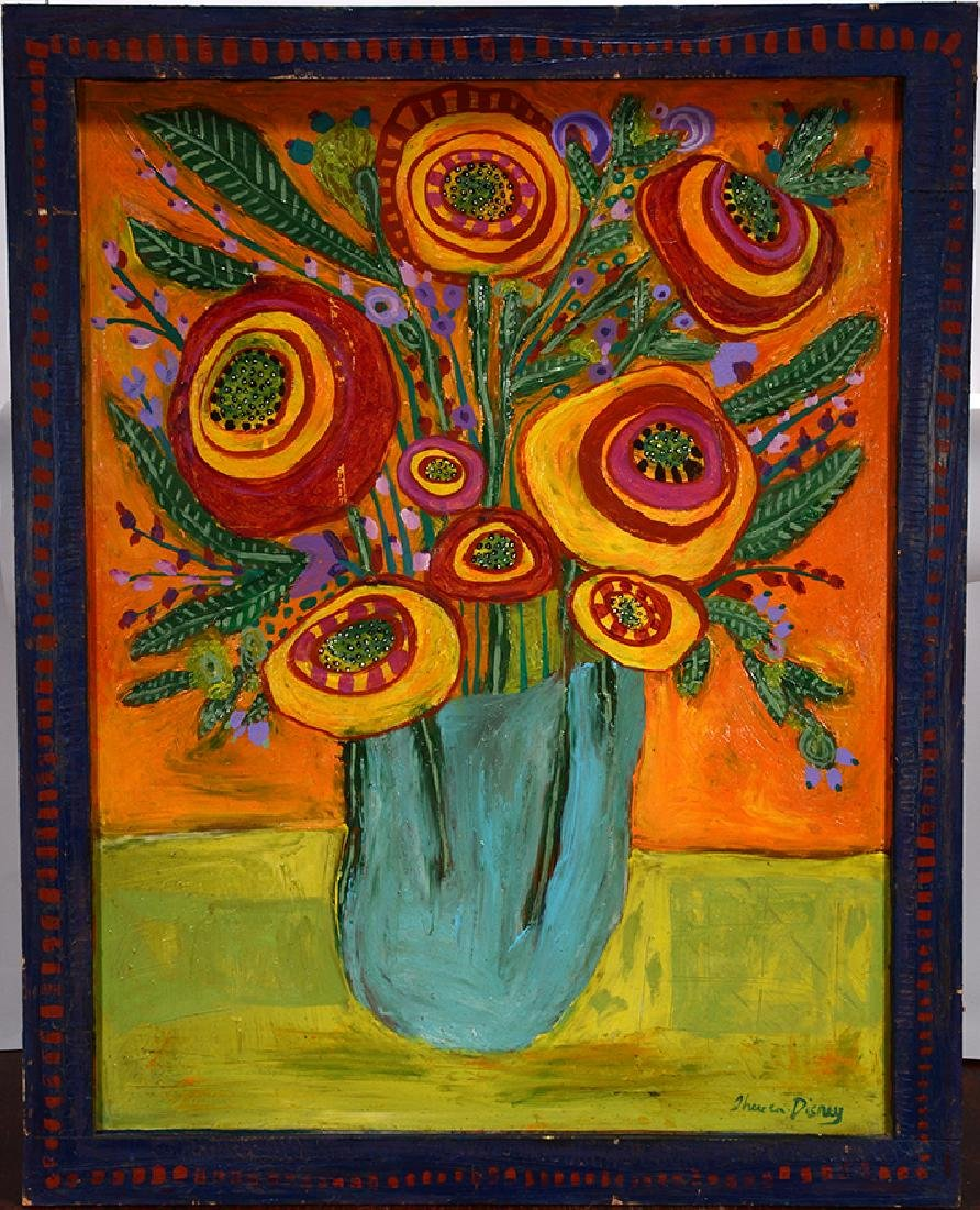 Theresa Disney. Large Flower In Vase. - 3
