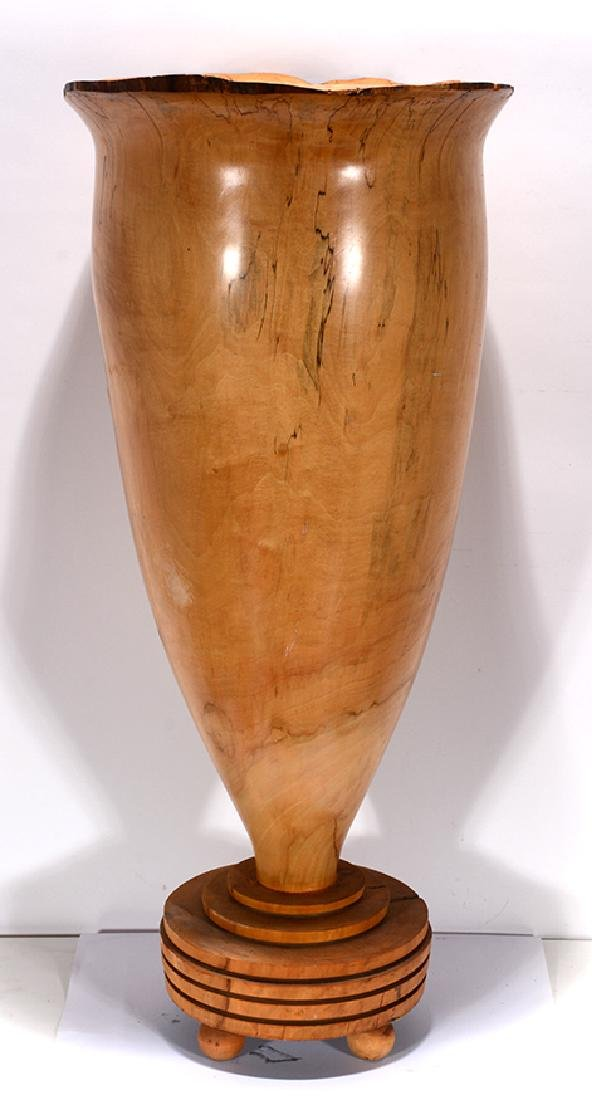 XL Hand-Turned Wooden Floor Vase.