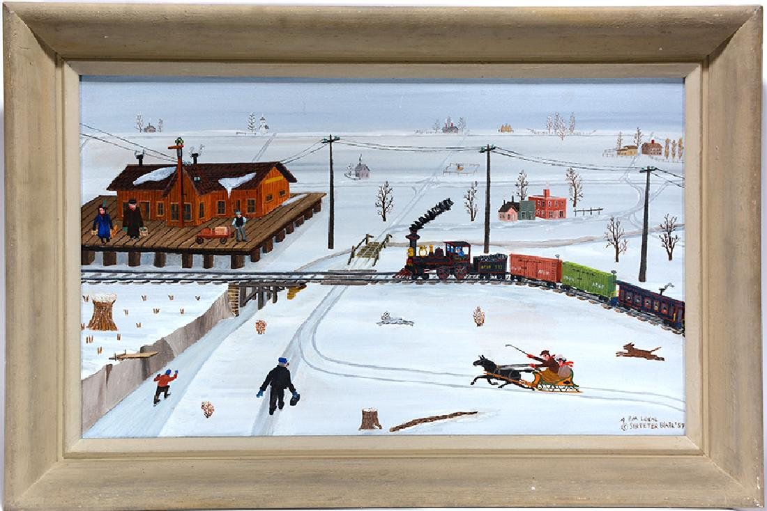 Streeter Blair. Snow Scene with Train.
