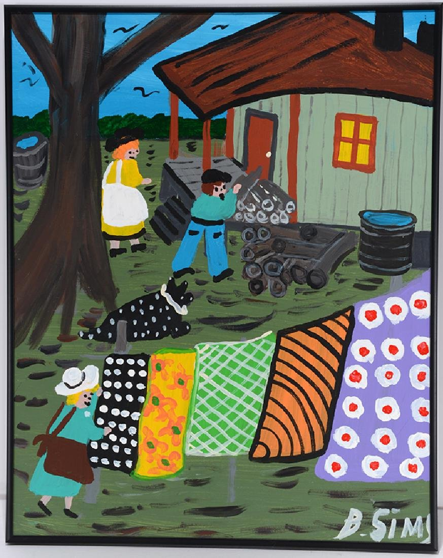Bernice Sims. Hanging The Quilts Up.