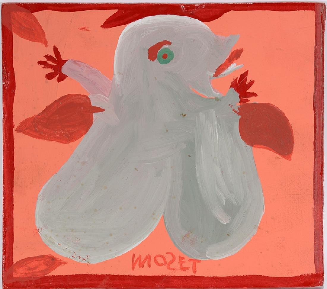 Mose Tolliver. Bird-Like Figure & Red Flower.