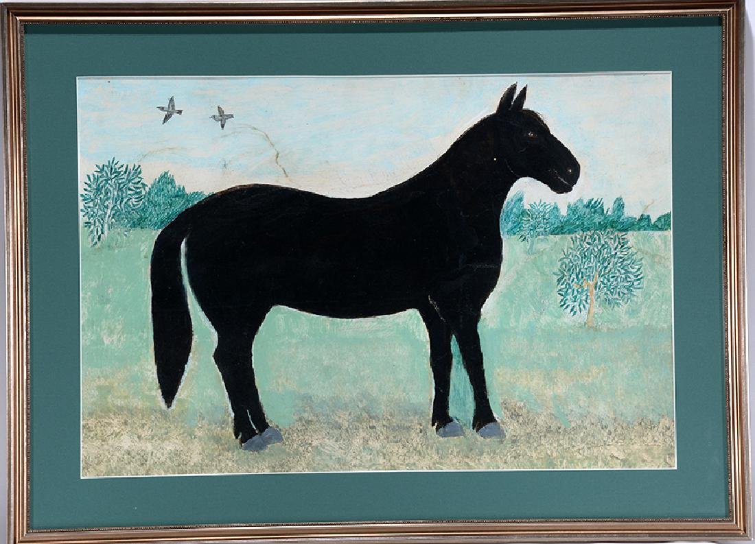 Mark Levine. Black Horse In Field.
