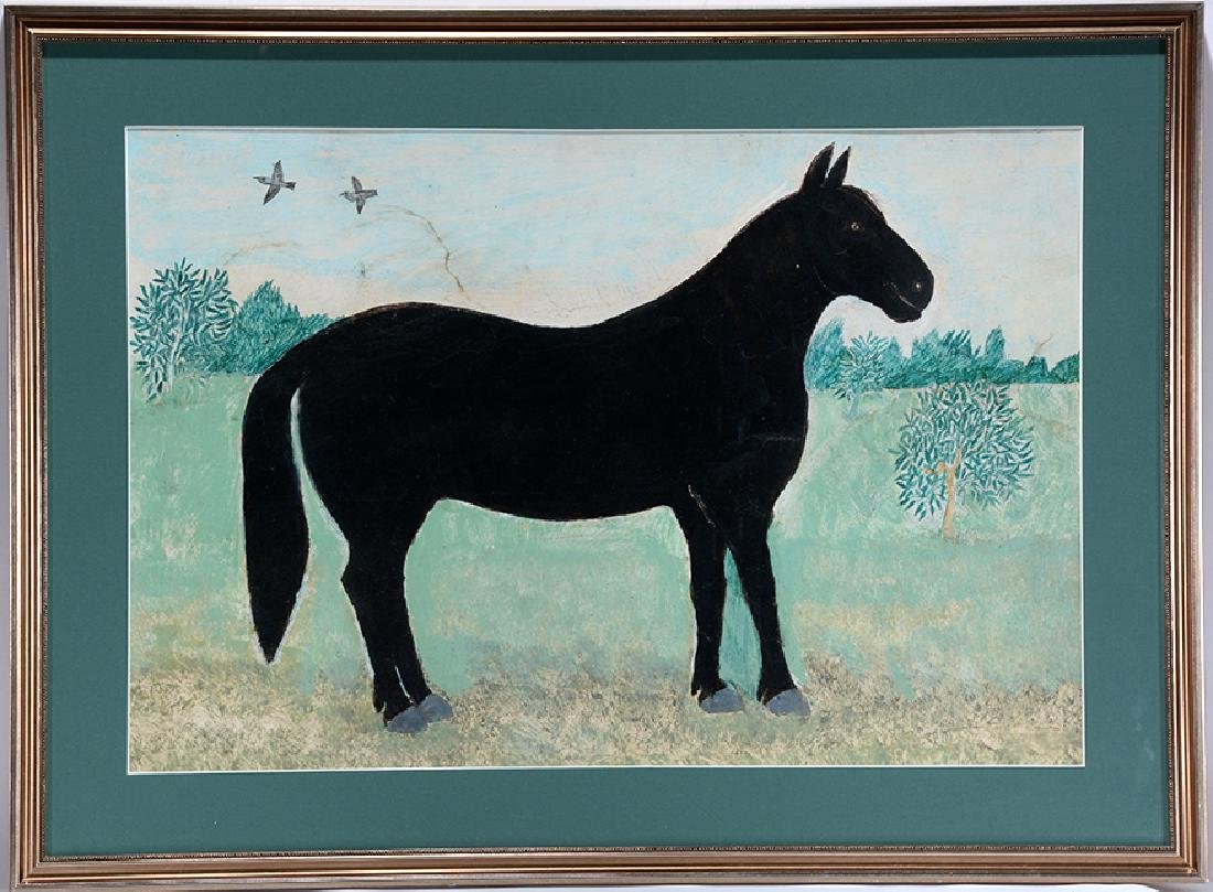Mark Levine. Black Horse In Field. - 2