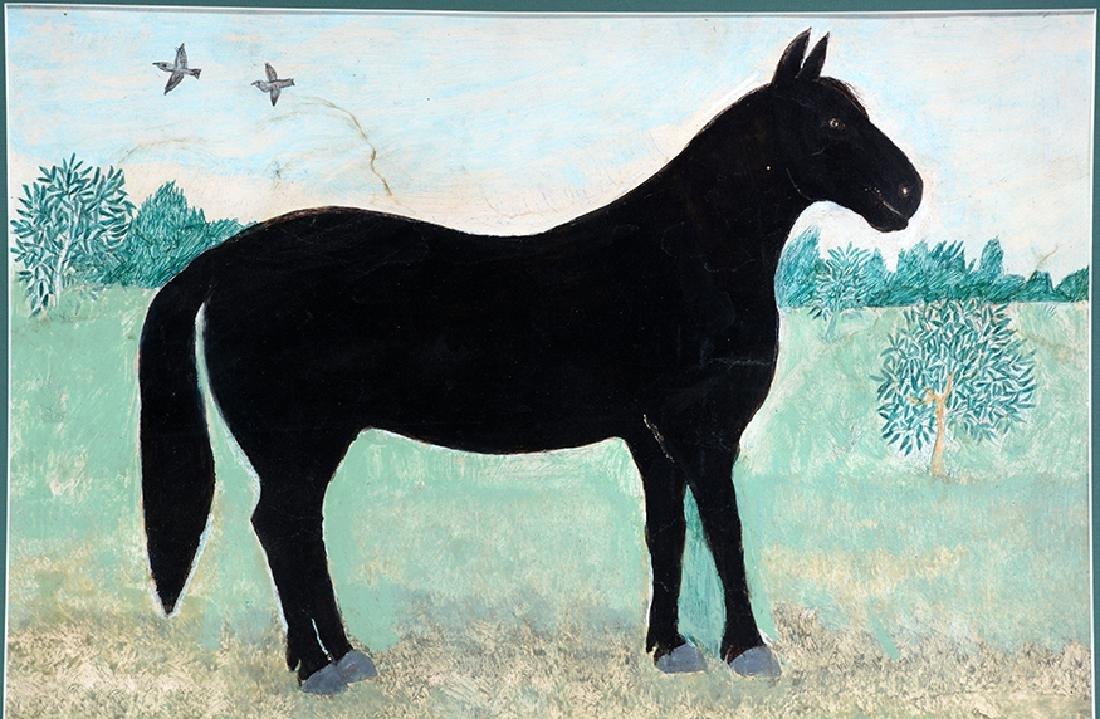 Mark Levine. Black Horse In Field. - 3
