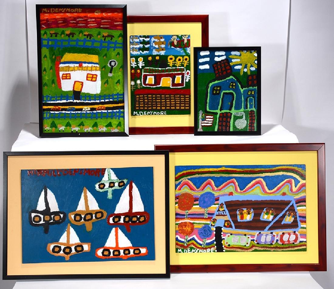 Merrill Densmore. 5 Boat & House Paintings.