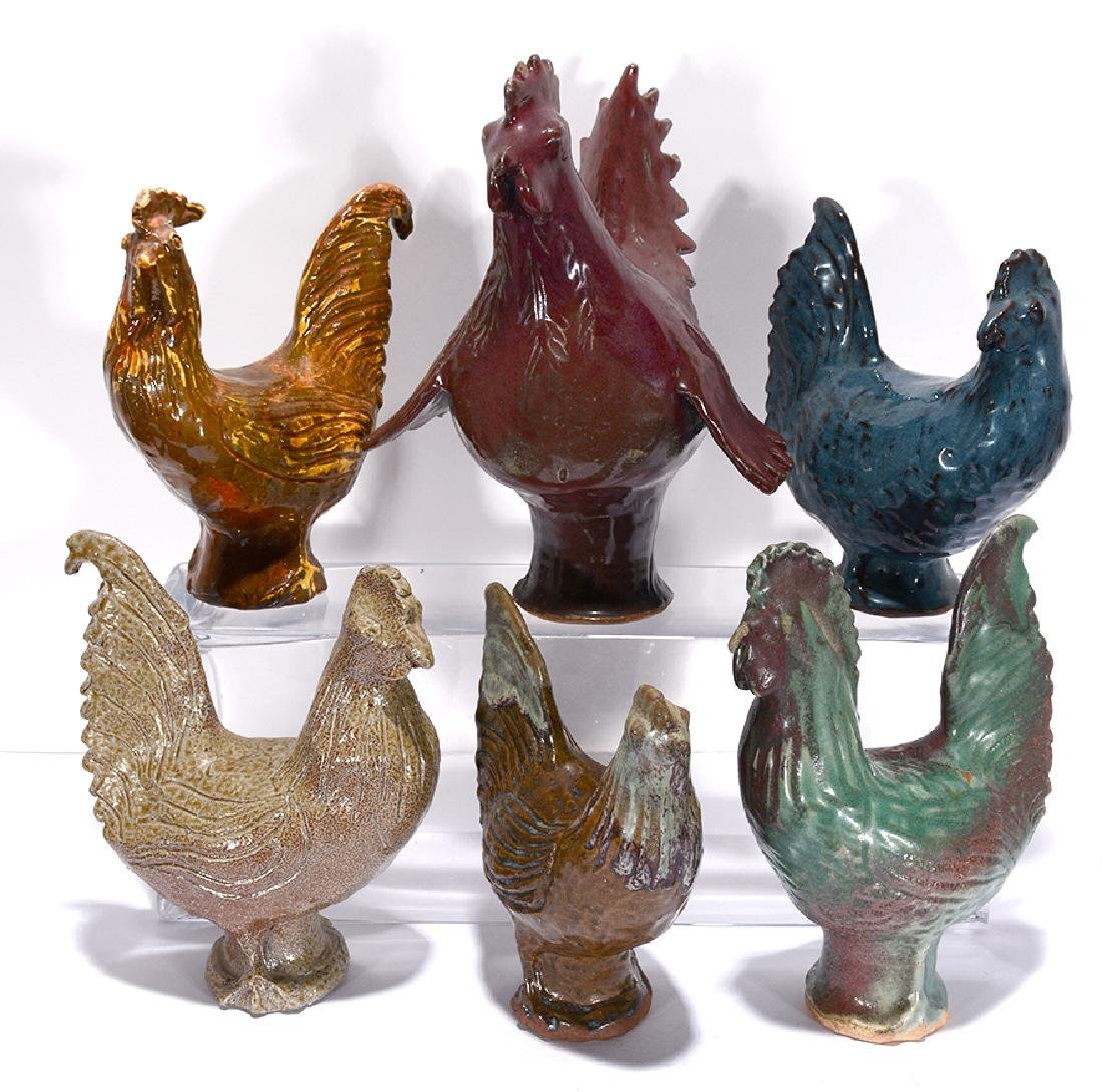 Charles Moore. 6 Pottery Roosters & Hens.