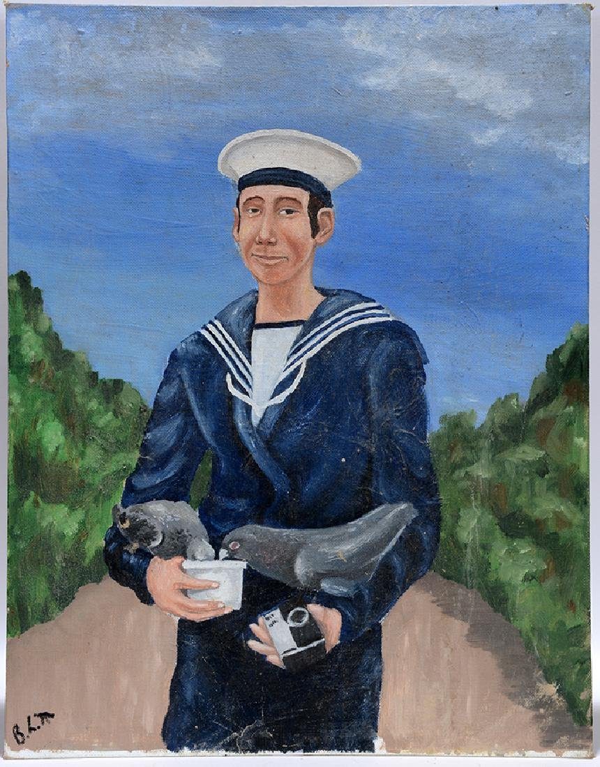 B.L.T. Sailor Feeding Pigeons.