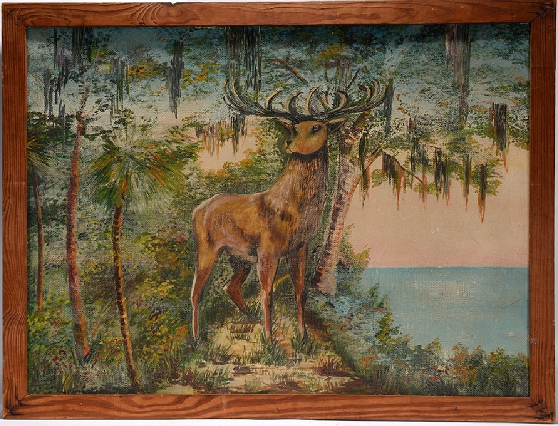Large Stag In Florida Landscape Painting.
