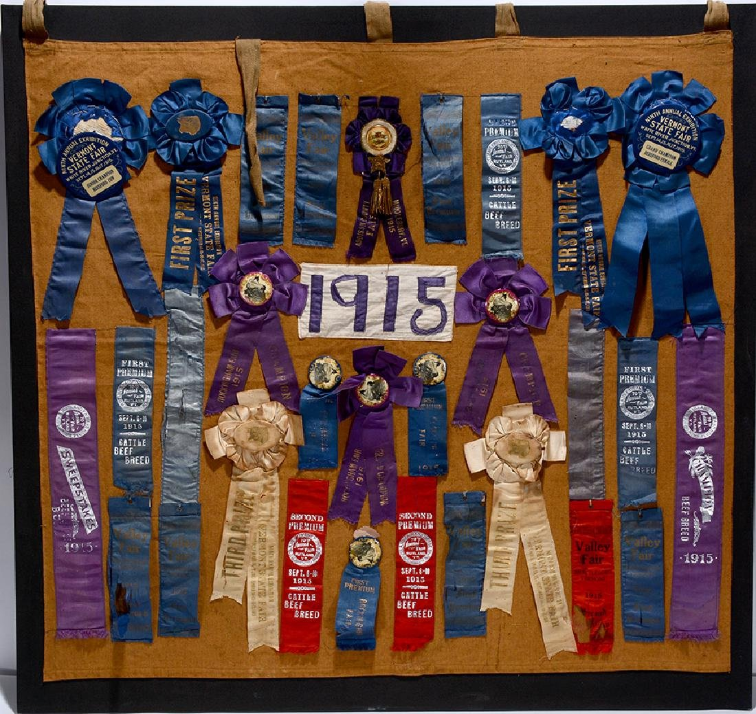 1915 ME & VT State Fair Beef Ribbons.