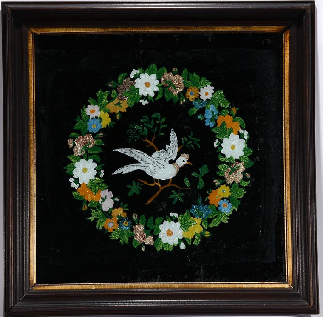 Dove Inside Flower Wreath Reverse Painting.