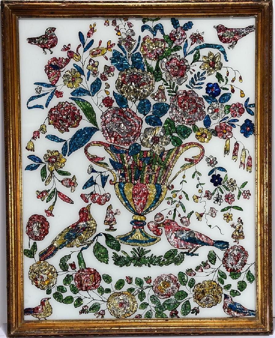 Wedding Vase With Flowers & Birds.