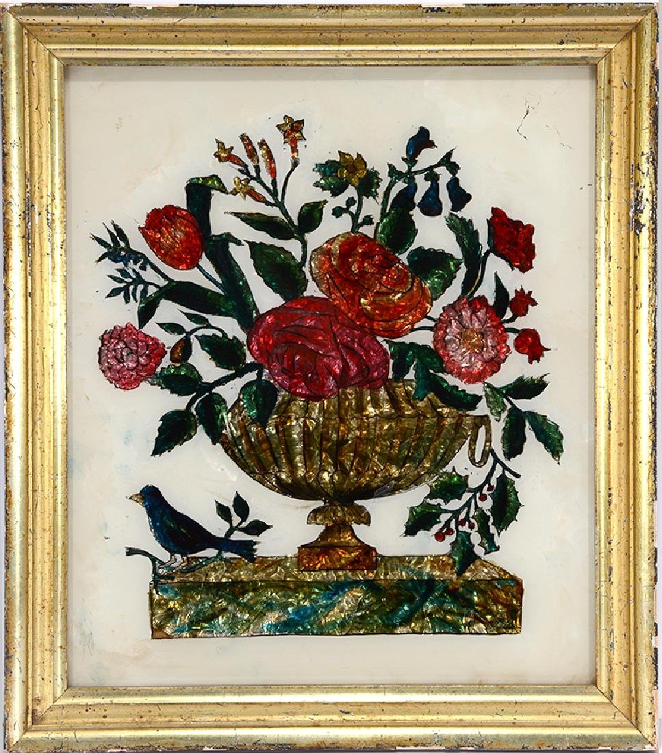 Roses & Holly In Urn w Bird Reverse Painting.