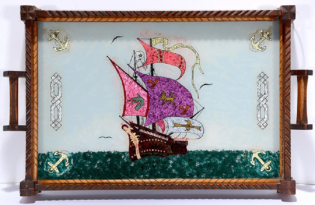 Dbl-Sided Tray w Boat & Roses Rev. Painting.