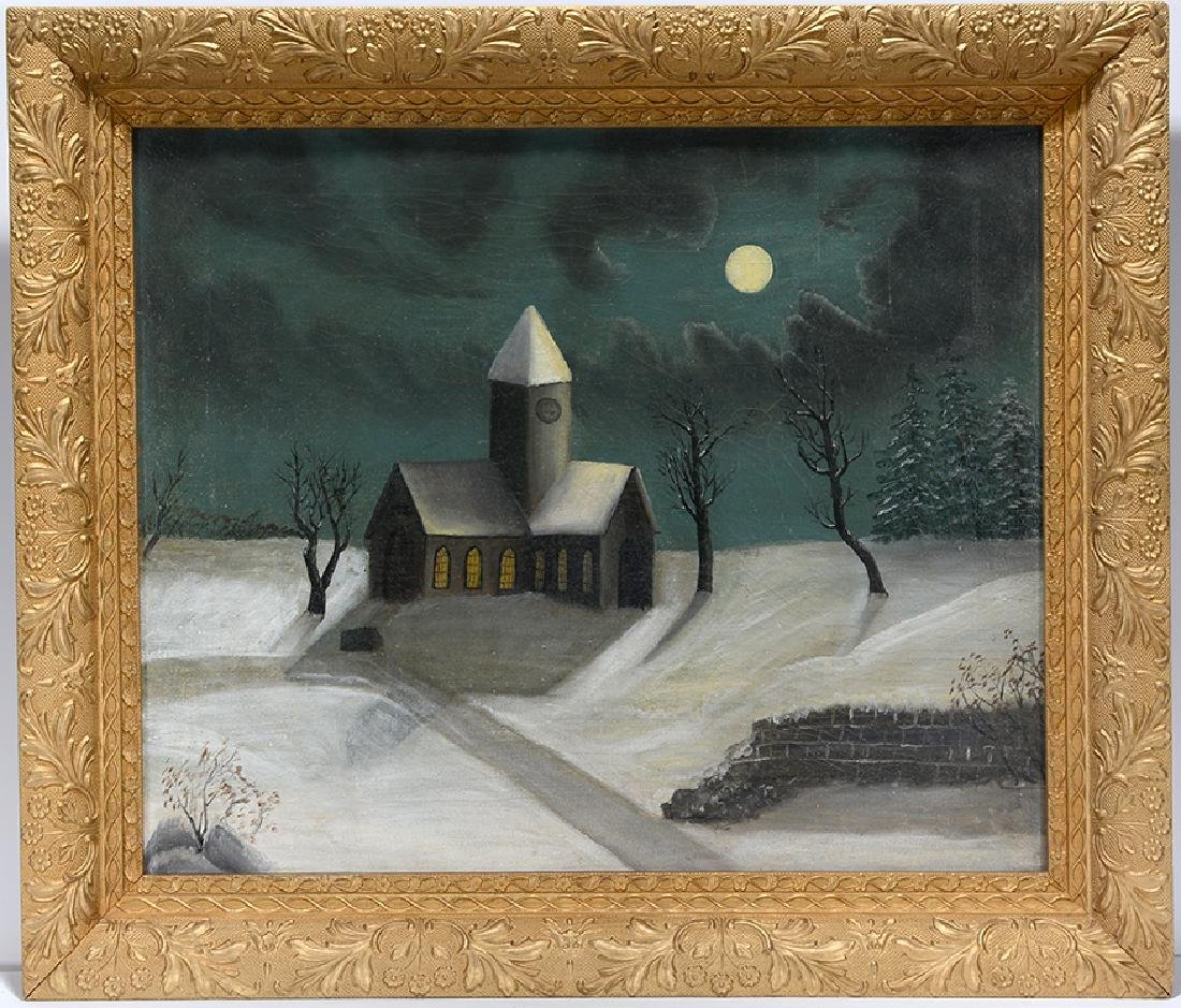 Church In Moonlight Snow.