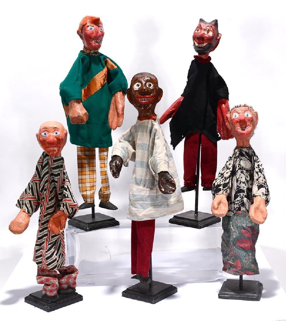 Five Antique Puppets.