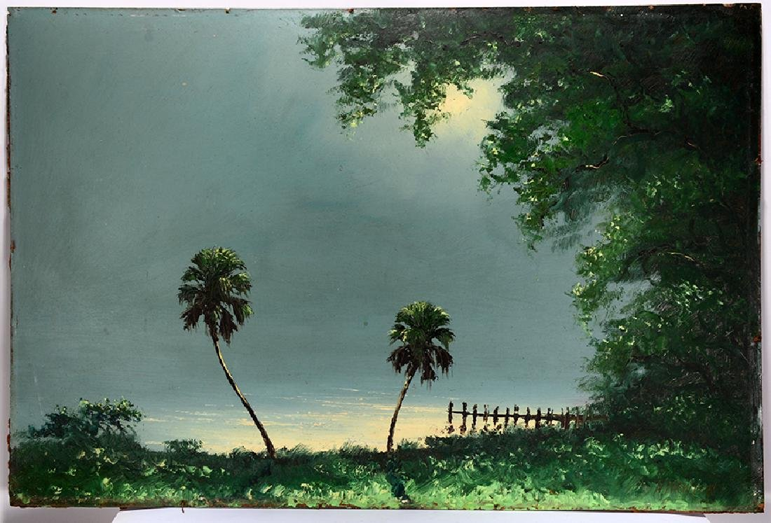 H. Newton. Palm Trees In Moonlight.