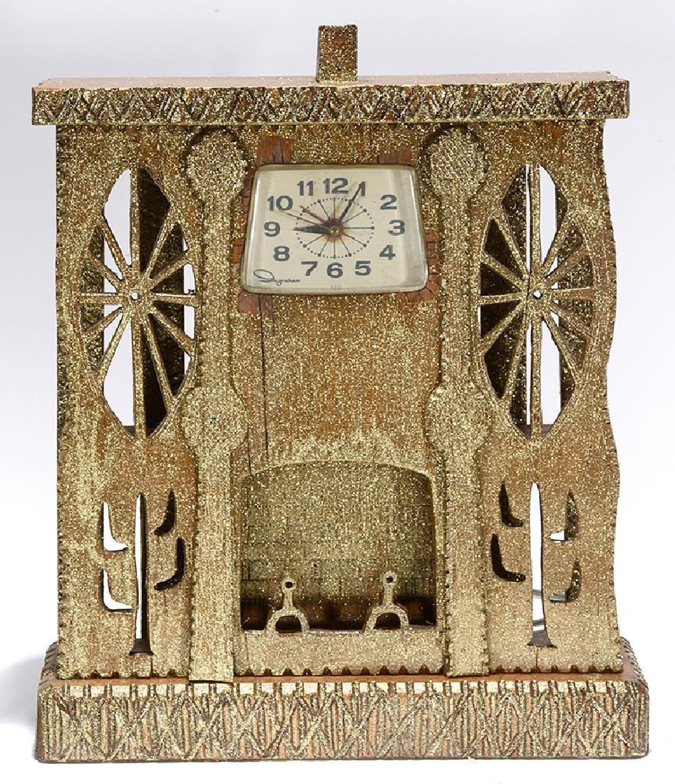 Howard Finster. Golden Clock Case.