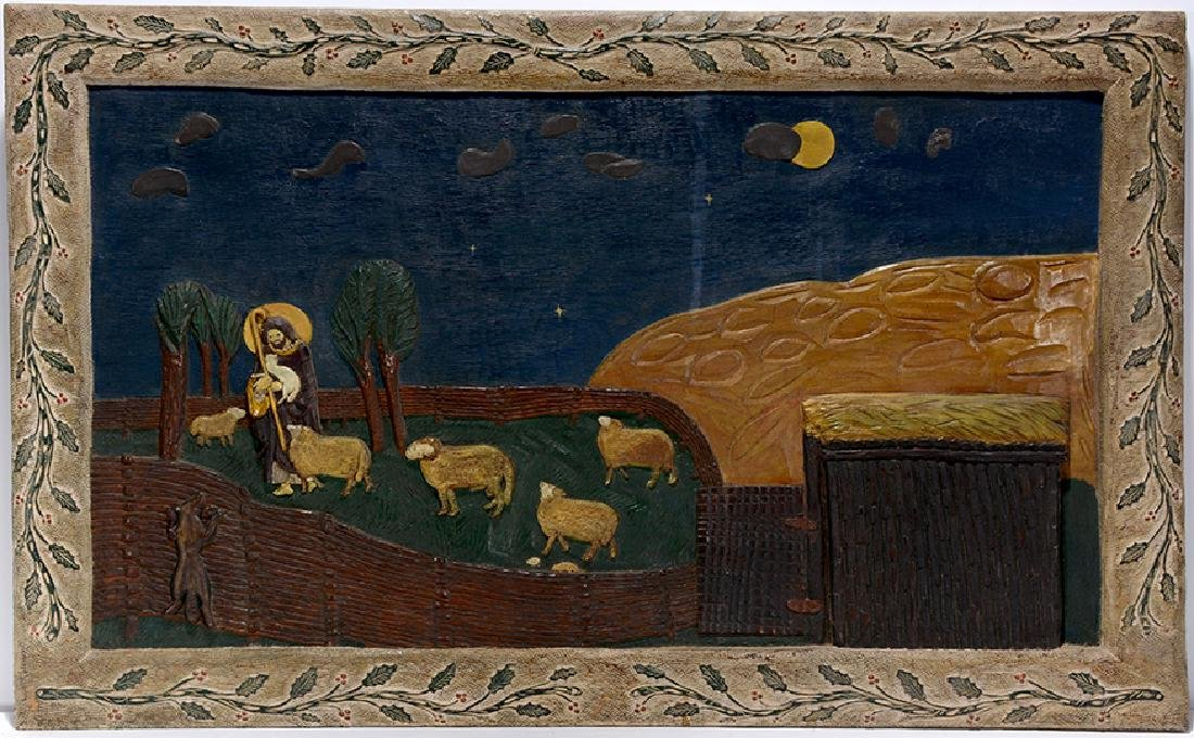 Christ The Shepard Carved Wooden Panel.