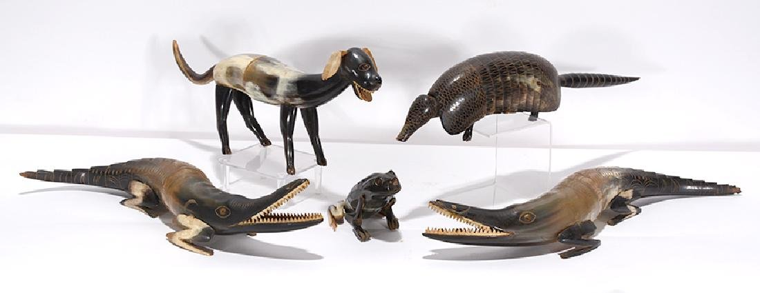 Five Horn Animal Sculptures.