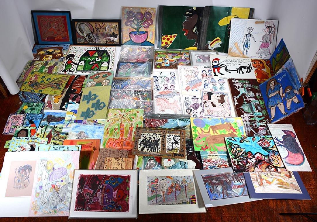 Young, Taylor, Jinks, Sudduth. Giant Folk Art Box Lot.