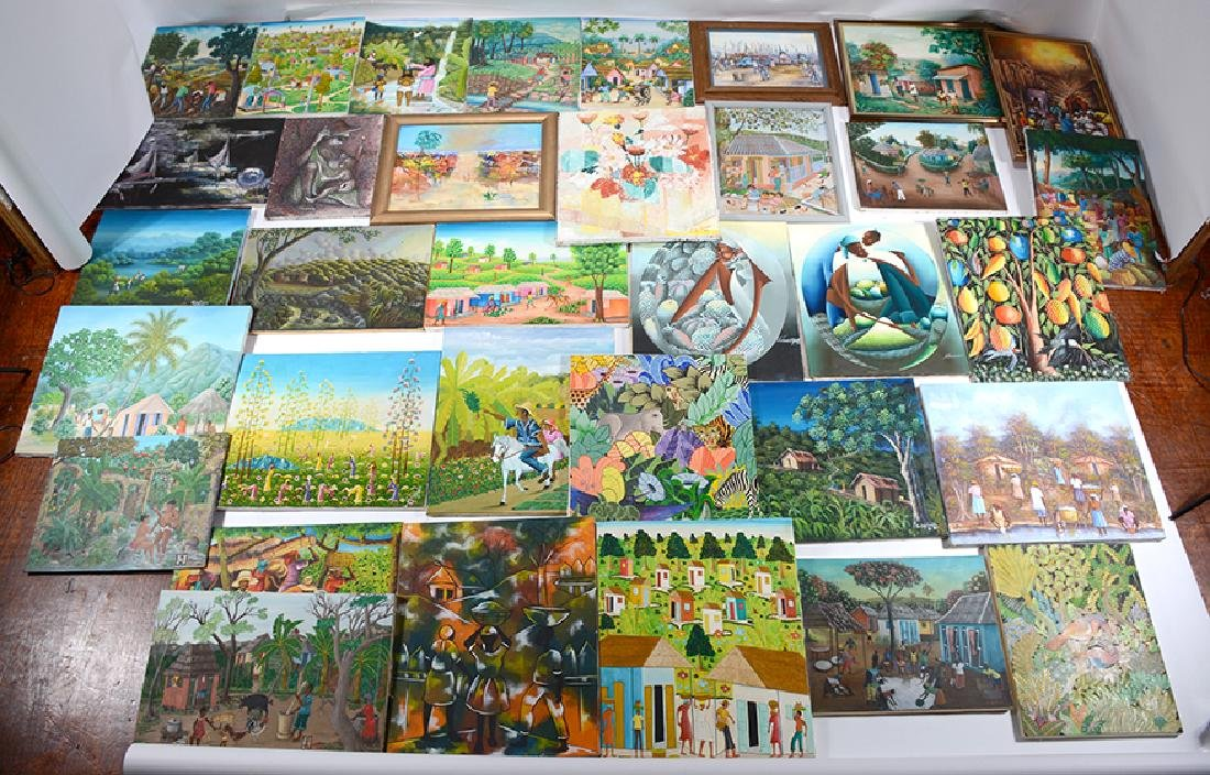 34 Mid-Sized Haitian Paintings.