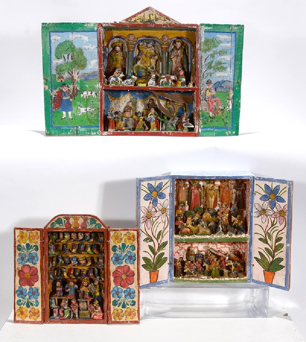 Mexican or Peruvian. Religious Box Scenes.