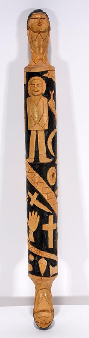 Herman Hayes. Pictorial Carved Rolling Pin.