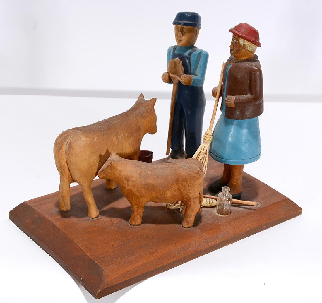 Clara Gilman. Farmer With Cow.