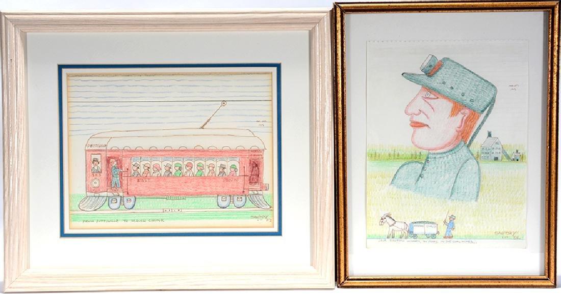 Jack Savitsky. Trolley Car & Self-Portrait.