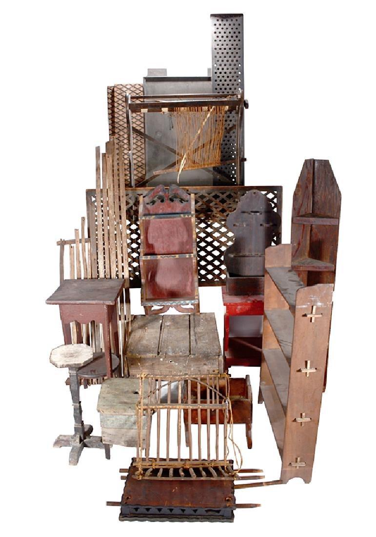 Box Lot Old Slave Mart Wooden Furniture.