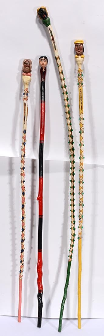 Harlequin & Rice. 4 Highly Decorated Canes.
