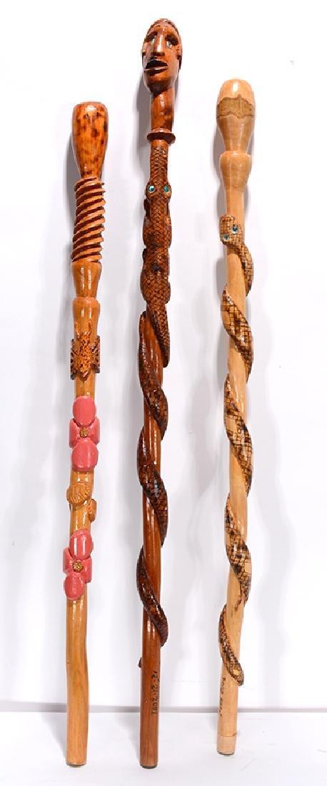 David Allen. 3 Carved Canes.
