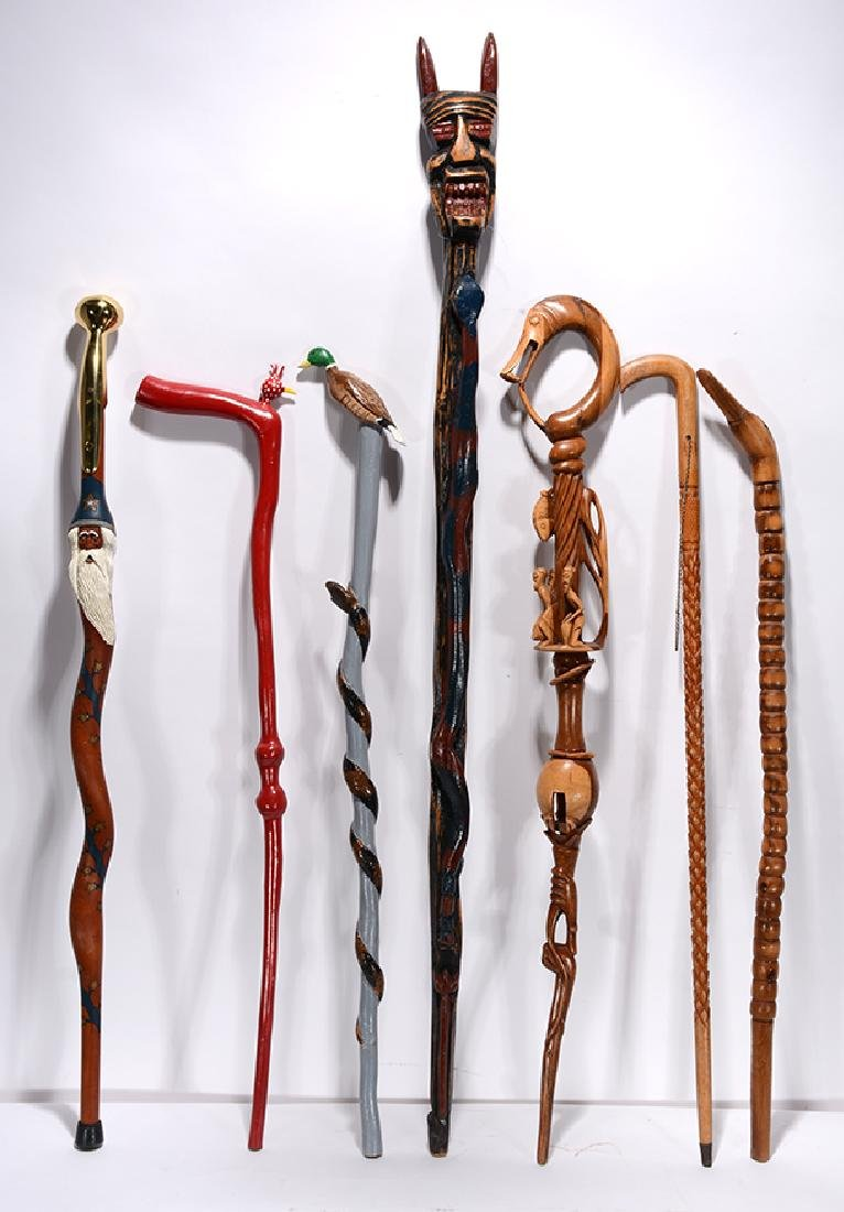 Variety of Carvers. 7 Carved Canes.