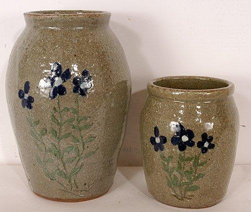 51: David Meaders Flower Decorated Vase Pair.