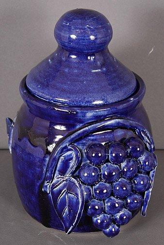 61: Edwin Meaders Blue Grape Cookie Jar w Lid.