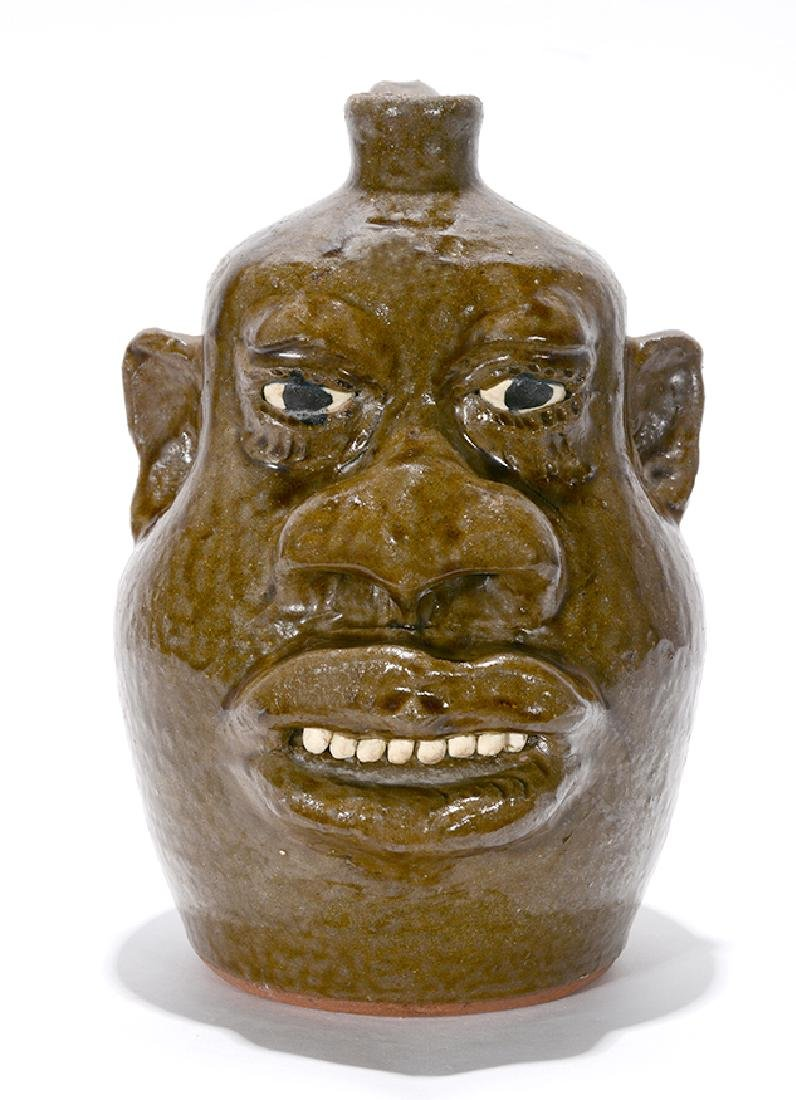 Lanier Meaders. Negro-Style Large Feature Face Jug. - 2