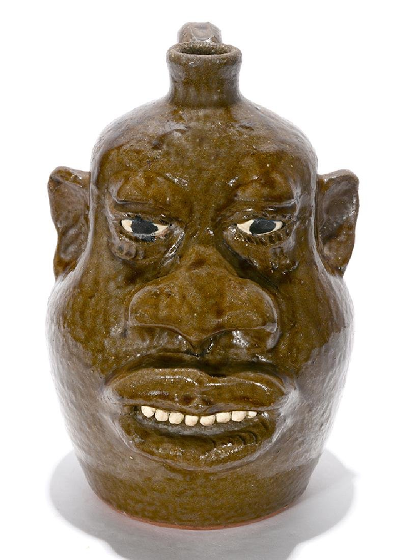 Lanier Meaders. Negro-Style Large Feature Face Jug. - 3