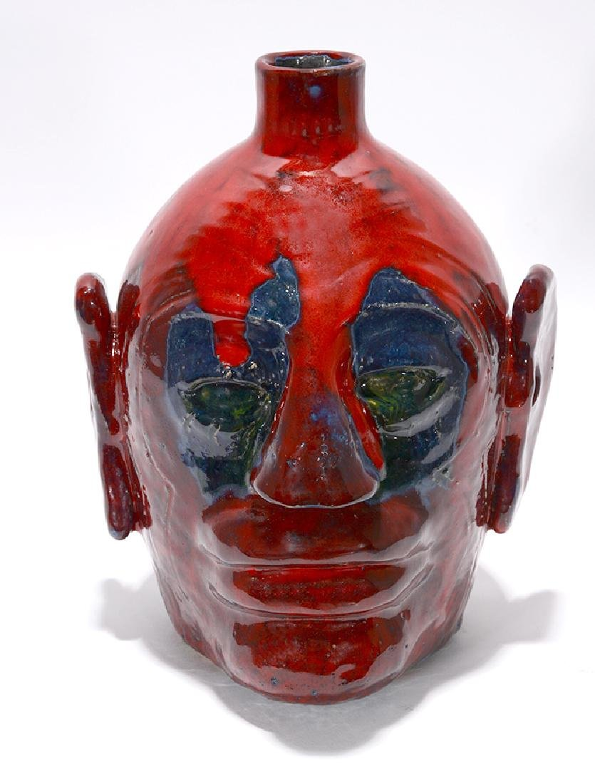 Edwin 'Nub' Meaders. Face Jug With Heavy Red Glaze. - 2
