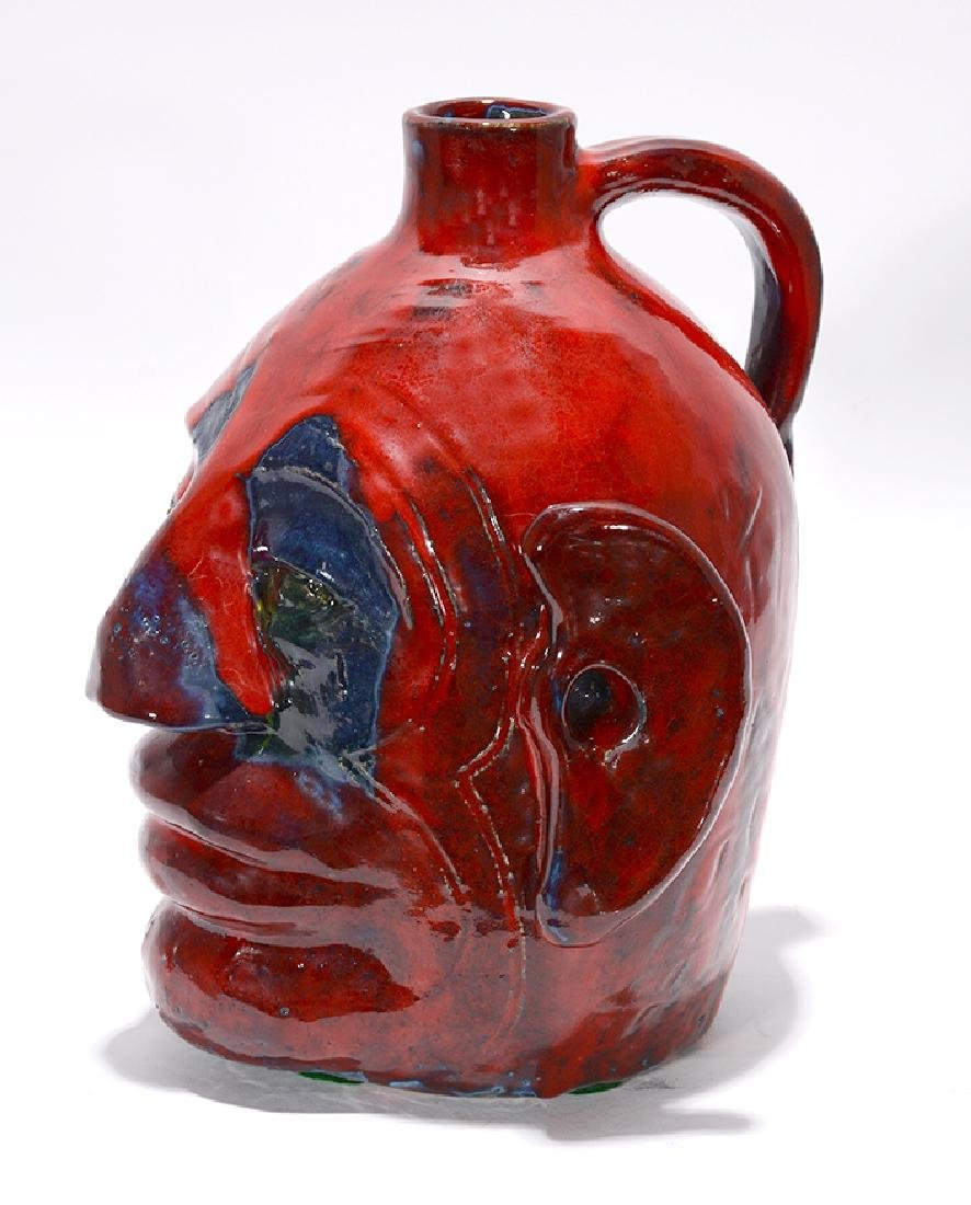 Edwin 'Nub' Meaders. Face Jug With Heavy Red Glaze. - 3