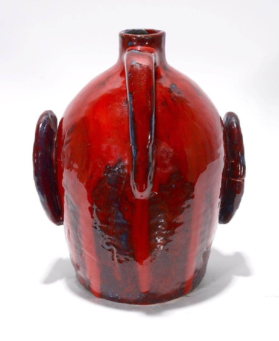 Edwin 'Nub' Meaders. Face Jug With Heavy Red Glaze. - 4