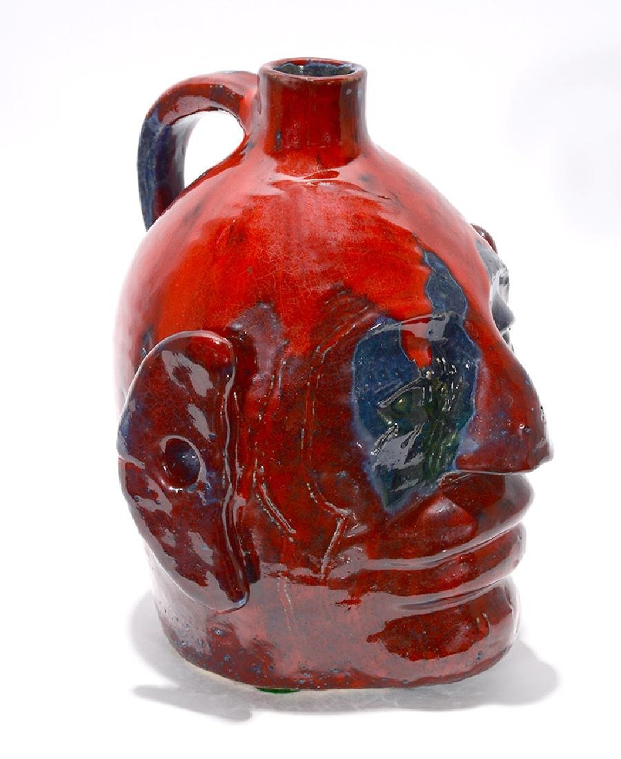 Edwin 'Nub' Meaders. Face Jug With Heavy Red Glaze. - 5
