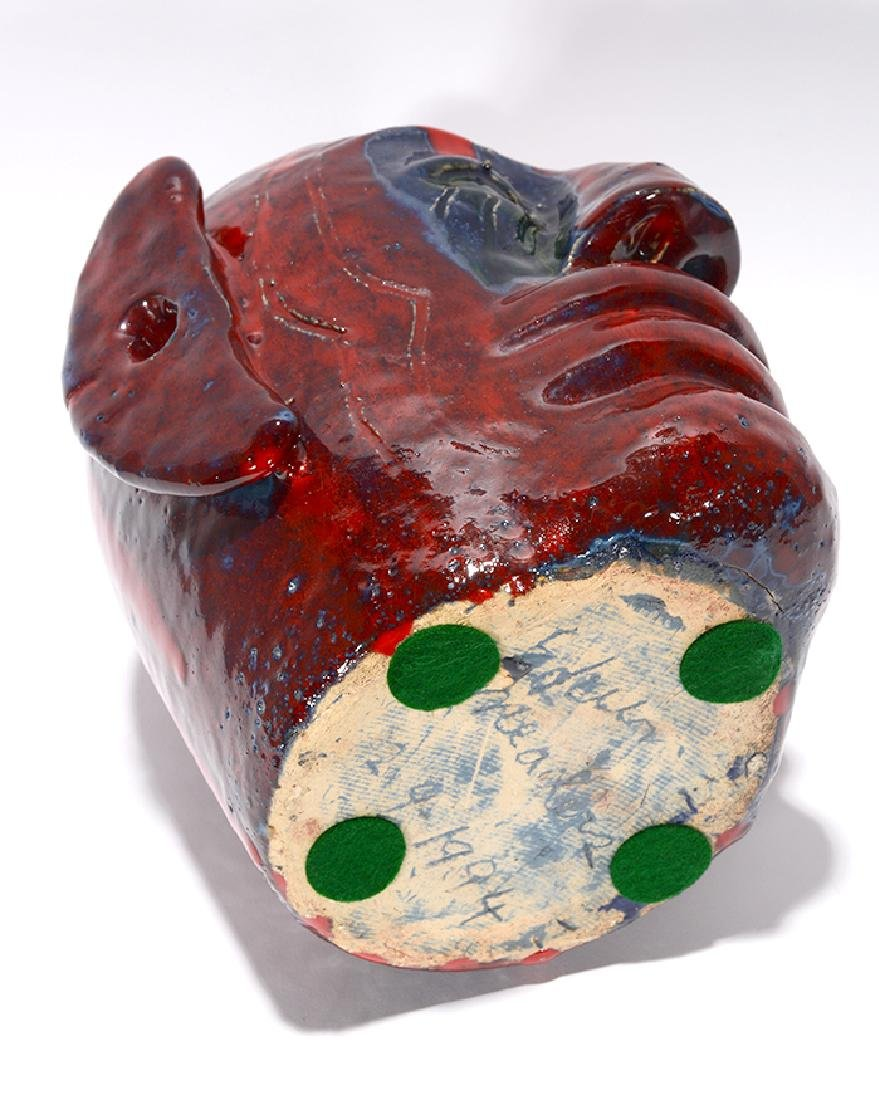 Edwin 'Nub' Meaders. Face Jug With Heavy Red Glaze. - 6