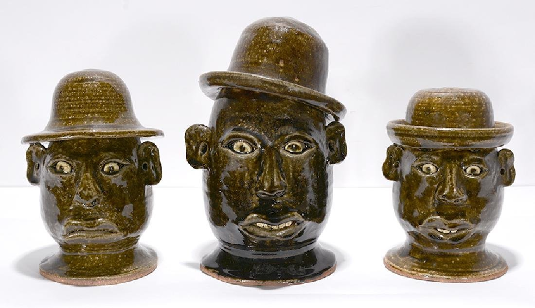 Anita Meaders. Three Face Jugs With Hats.