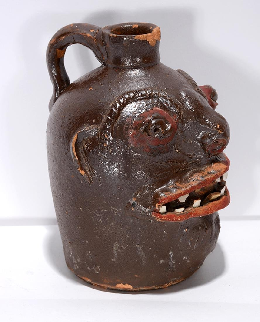 Brown Family, N. GA (Attrib.). Rare Pint Size Face Jug. - 4