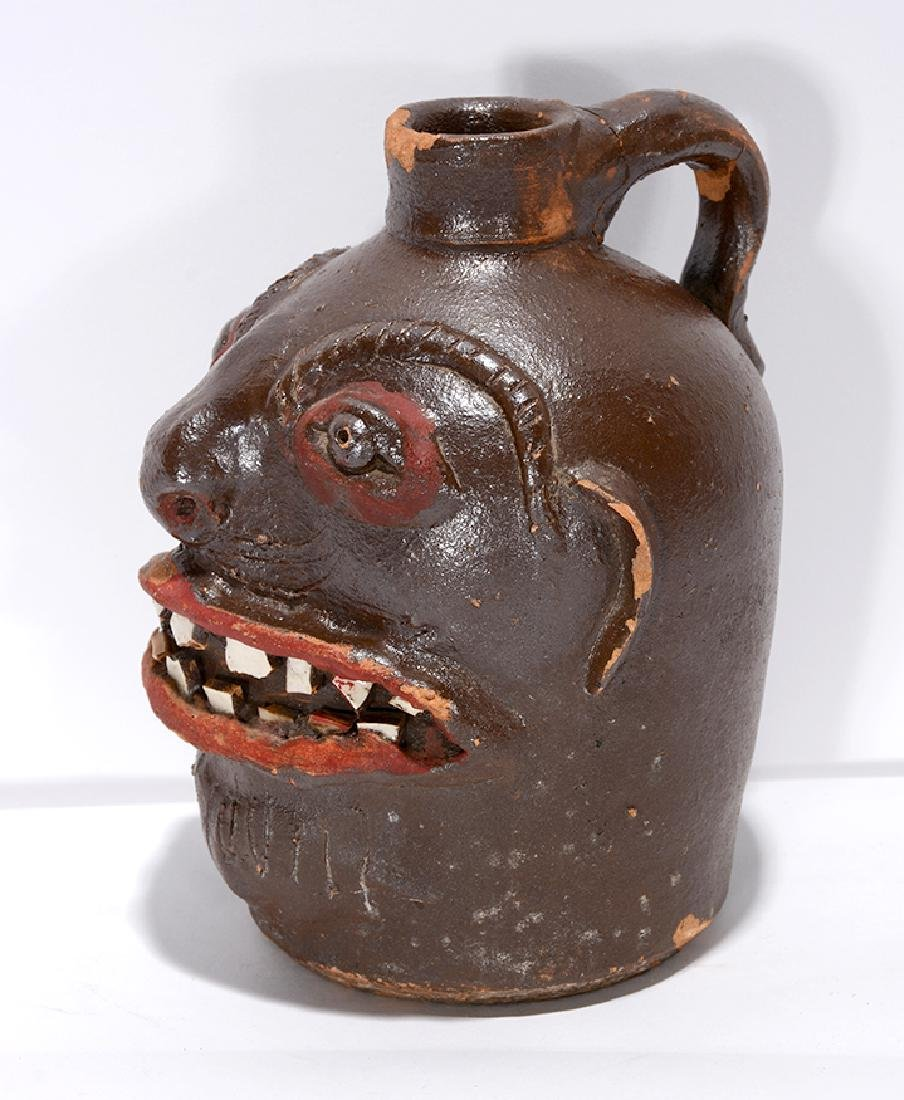 Brown Family, N. GA (Attrib.). Rare Pint Size Face Jug. - 6