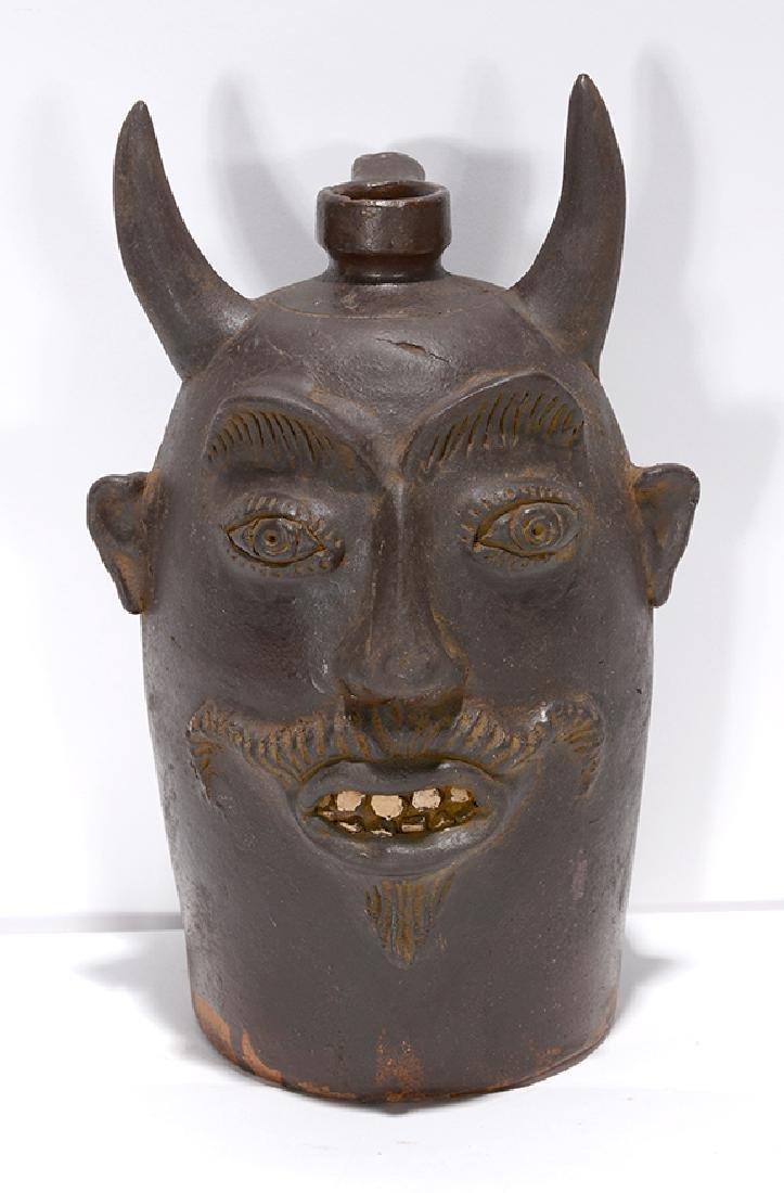 Contemporary KY. Sewer Tile Color Devil Face Jug. - 2