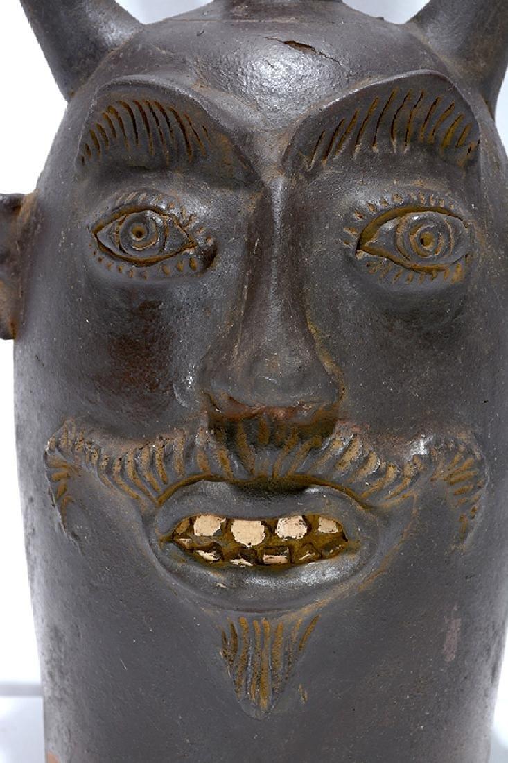 Contemporary KY. Sewer Tile Color Devil Face Jug. - 6