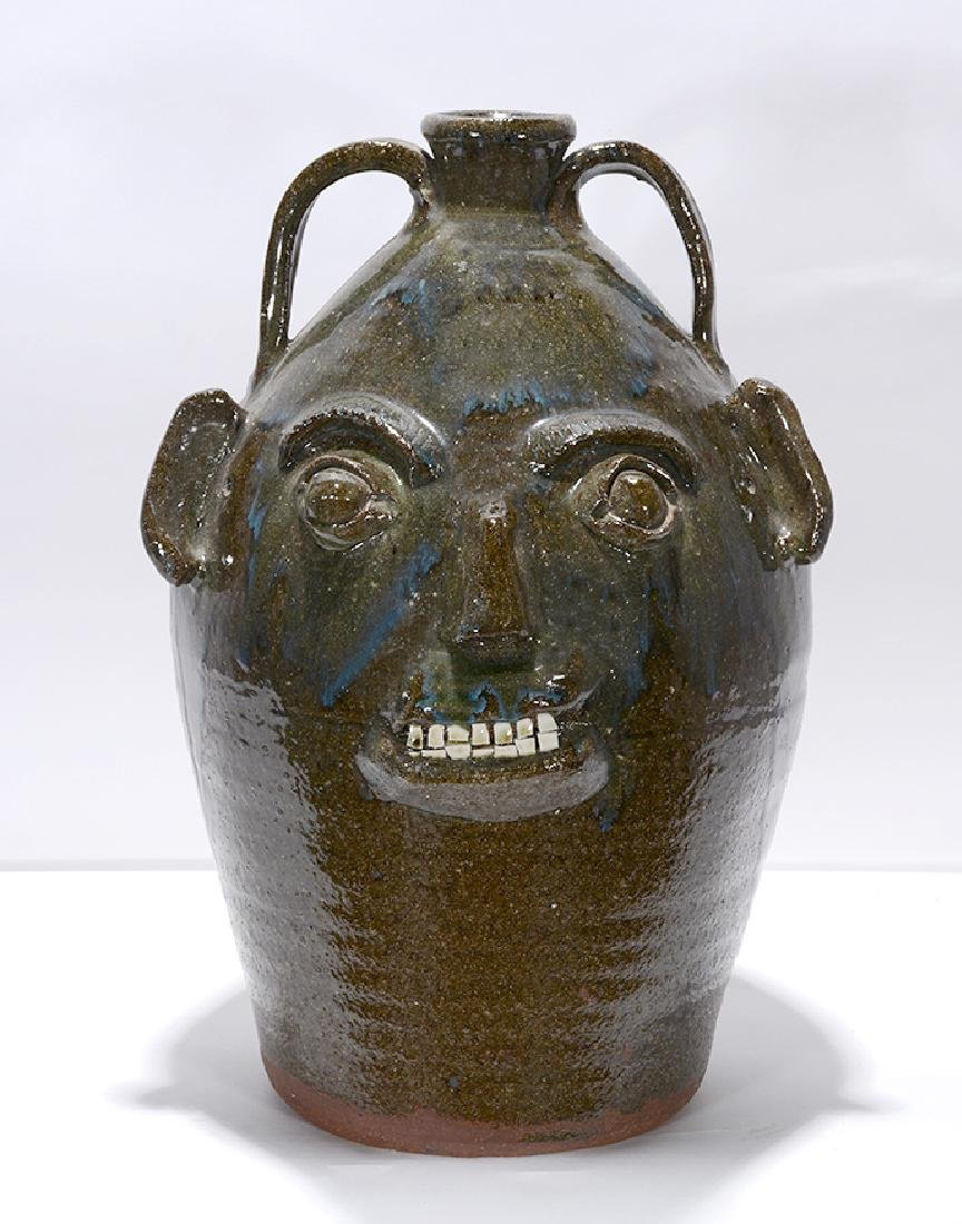 B.B. Craig. 5 Gal. Face Jug With Blue Routille Drips. - 3