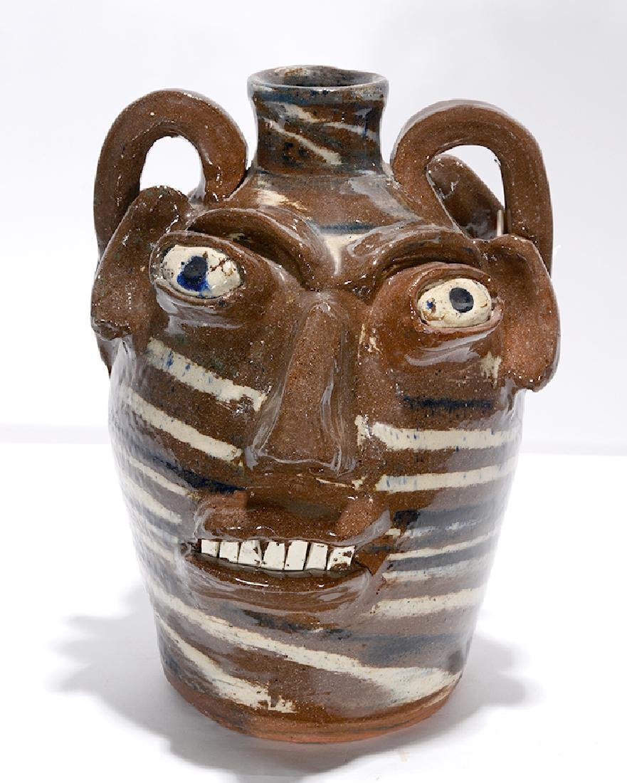 B.B. Craig. Three Color Swirl Double Face Jug.